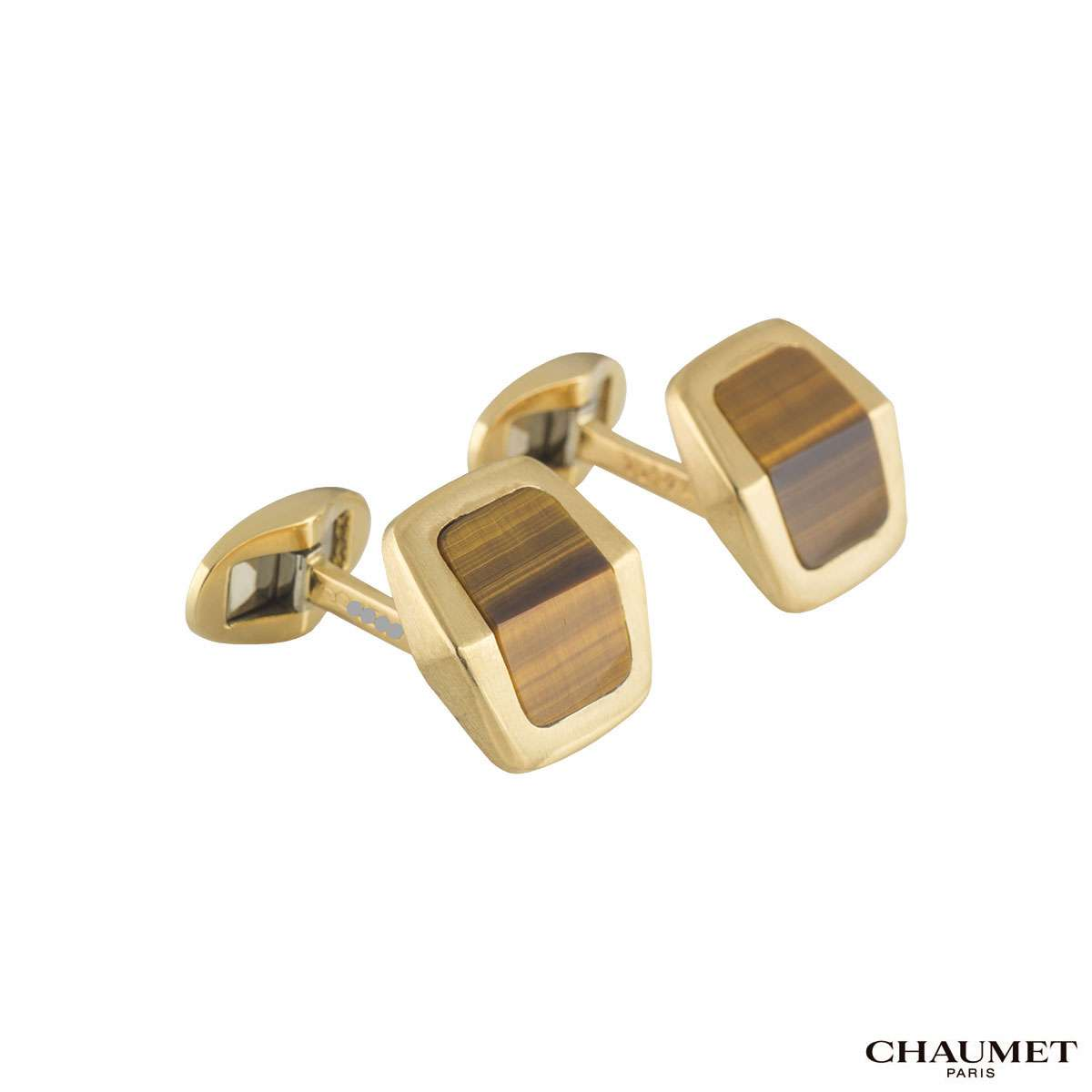 Chaumet Yellow Gold Tigers Eye Cufflinks